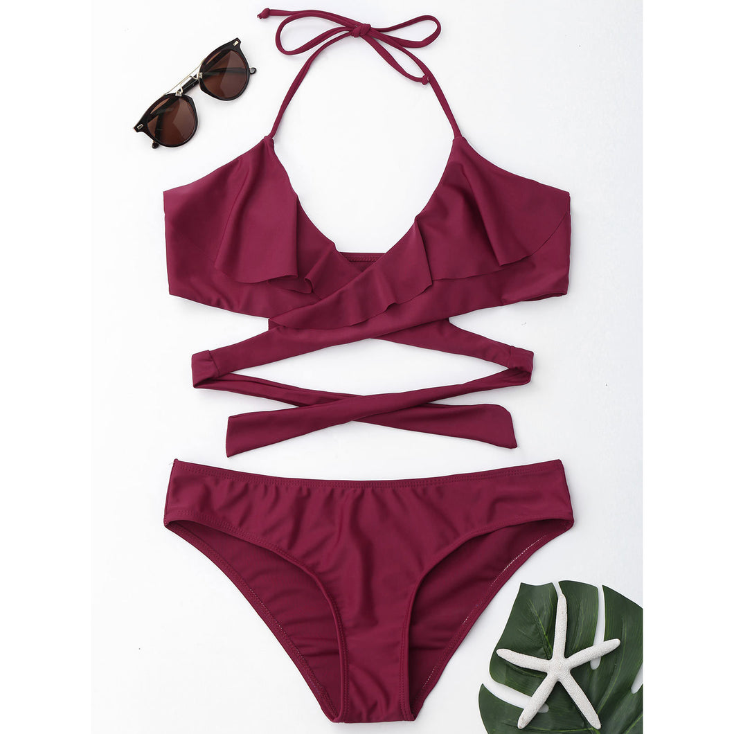 Ruffle Sexy Cross Strap Swimwear Set