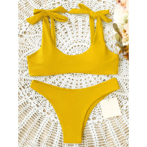Sexy Pure Color Bow-Knot Bikini Swimwear