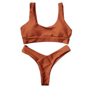 Pure Color Ladies Beach Swimwear