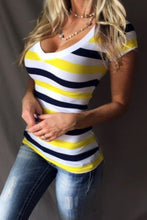 V Neck  Stripes T-Shirts
