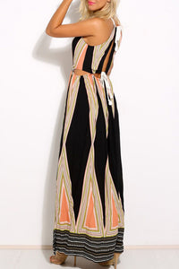 Halter  Backless Cross Straps  Hollow Out  Sleeveless Maxi Dresses