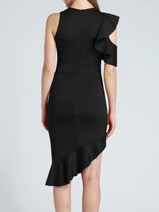 Crew Neck  Asymmetric Hem  Plain Bodycon Dress