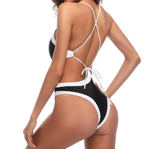 Halter Pure Color One-Piece Swimwear