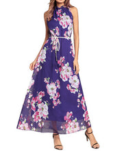 Band Collar  Belt  Printed Maxi Dress