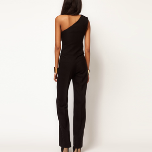 Solid Color Sleeveless Sexy Oblique Shoulder Jumpsuit