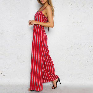 Condole Belt Dew Back Striped Jumpsuit