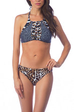 Halter  Lace Up  Leopard Bikini