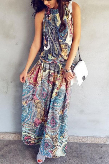 Halter  Printed  Sleeveless Vintage Dress Maxi Dresses