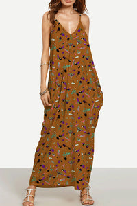 Spaghetti Strap  Backless  Printed  Sleeveless Maxi Dresses