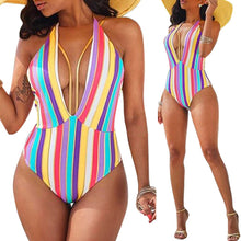 Multi-Color Sexy Stripe One-Piece Swimwear