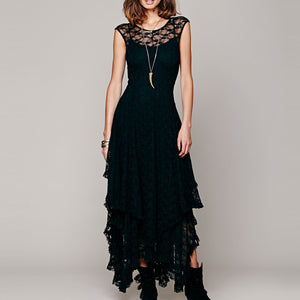 Bohemia Fashion Sexy Lace Irregular Beach Vacation Dress