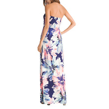 Bohemia Printing Strapless Beach Vacation Dress With Pockets