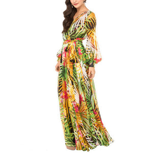 V Collar Printing Lantern Sleeve Beach Vacation Dress