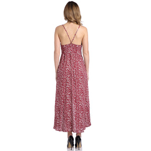 Bohemia Sexy Deep V Collar Split Printing Beach Vacation Dress