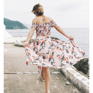 Bohemia Printing Split Two Piece Set Vacation Dress