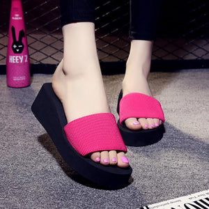 Casual Pure Color Slope Flat Shoes