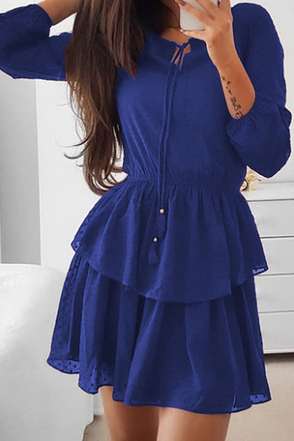 75ab5a67c82 Round Neck Flounce Plain Long Sleeve Skater Dresses – PINKSIA