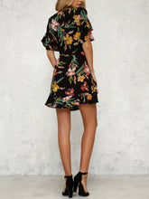 Black V Neck Random Elegant Floral Print Spliced Dress