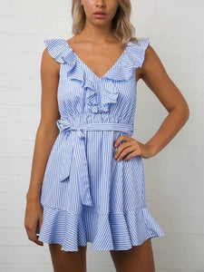 Light Blue Sleeveless Sexy Lace-Up Stripe Mini Dress