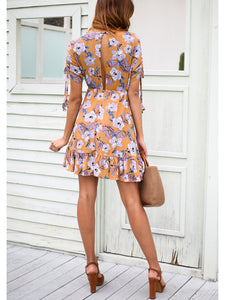 Random Floral Print Sleeveless V Neck Elegant Mini Dress