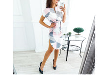 Sexy V Neck Floral Print Short Sleeves Bodycon Dresses