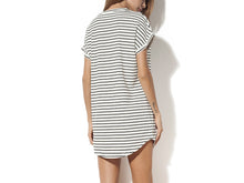 Casual Stripe V Neck Short Sleeves Mini Dress