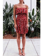Red Strapless Splited Hem Random Floral Print Mini Dress