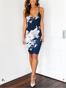 Random Floral Print Sleeveless Backless Bodycon Midi Dress