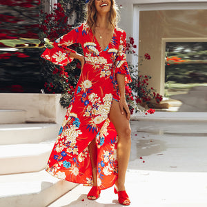 Red Random Half Sleeves Floral Print Maxi Dress