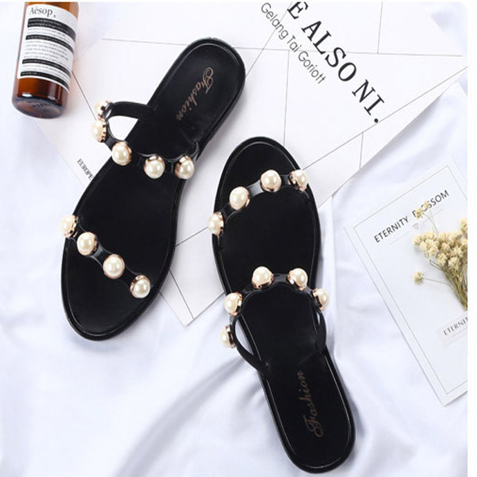 Casual Clip Toe Flat Sandals With Pearl