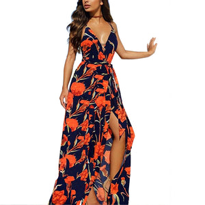 Sexy Elegant Sleeveless Silk Maxi Dress