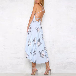 Sexy Backless Floral Print Maxi Dress In Light Blue