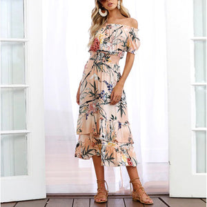 Pink Random Floral Print Off Shoulder Maxi Dress