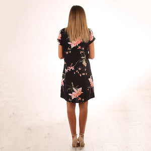 Casual Floral Print Short Sleeves Mini Dress