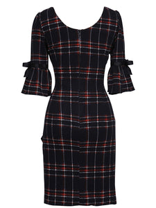 Deep V-Neck  Plaid Bodycon Dress