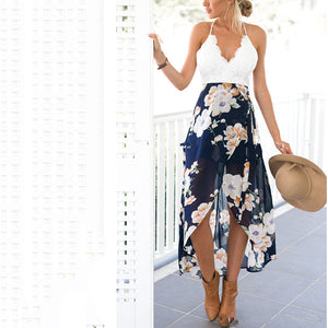 Sexy Floral Print Halter Neck Sleeveless Maxi Dress