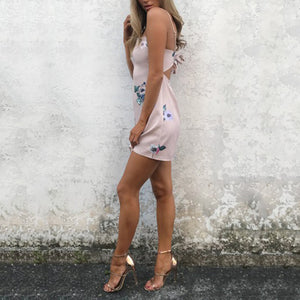 Sexy Elegant Sleeveless Floral Print Mini Dress