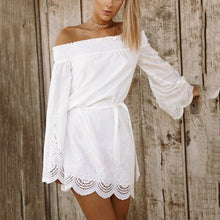 White Off Shoulder Long Sleeves Mini Dress