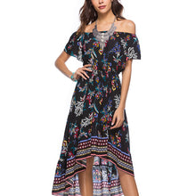 Elegant Floral Print Short Sleeves Maxi Dress
