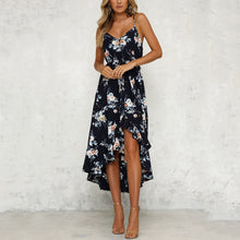 Floral Print Sleeveless Maxi Dress In Dark Blue