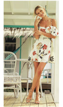 Beige Casual Floral Print Short Sleeves Mini Dress