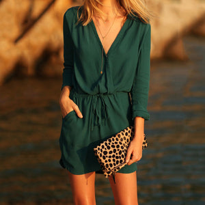 Green Sexy Elegant Half Sleeves Mini Dress
