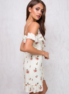Elegant Off Shoulder Floral Print Mini Dress