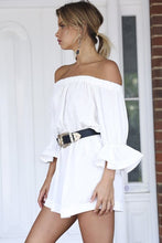 White Casual Off Shoulder Half Sleeves Mini Dress