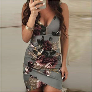 Sexy Elegant Floral Print Sleeveless Mini Dress