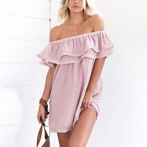 Sexy Off Shoulder Lotus Leaf Mini Dress