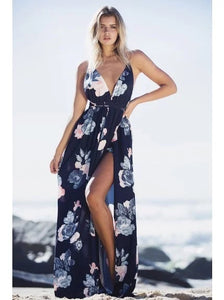 Dark Blue Backless Floral Print Maxi Dress