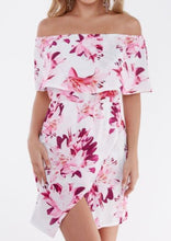 Pink Floral Print Off Shoulder Mini Dress