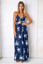 Sexy Elegant Backless Floral Print Maxi Dress