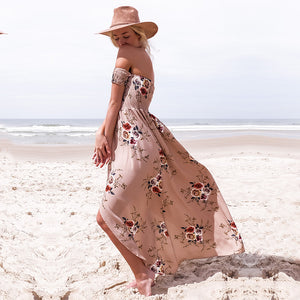 Off Shoulder Floral Print Short Sleeves Maxi Dress